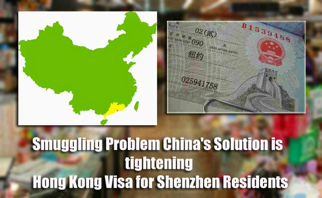 Smuggling Problem China's Solution is tightening Hong Kong Visa for Shenzhen Residents