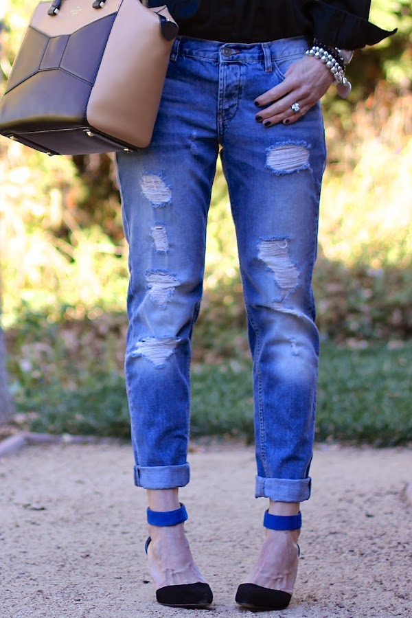 boyfriend jeans and ankle strap heels