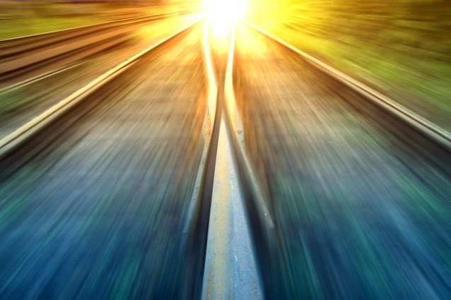 Sun on rail-road track (Credit: Shutterstock) Click to enlarge.