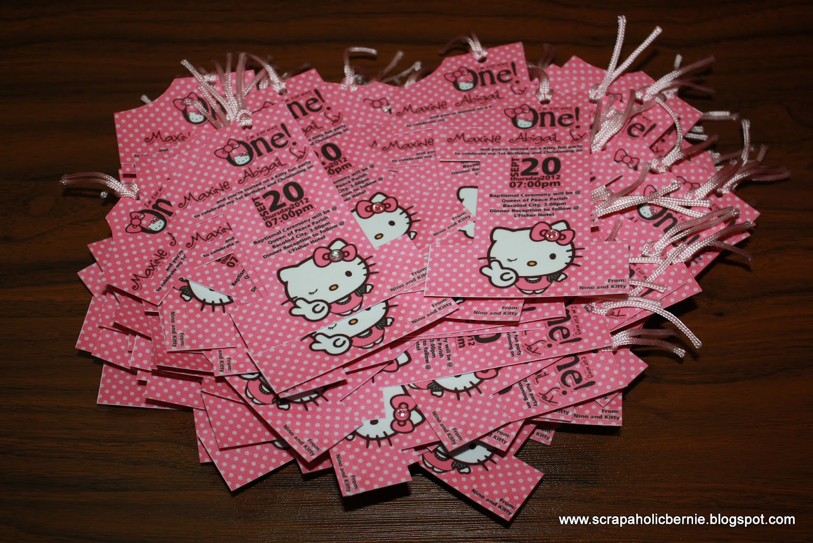 F1 digital scrapaholic hello kitty no1 invites for ms kathryn sy 150 pieces of hello kitty no1 invites done solutioingenieria Images