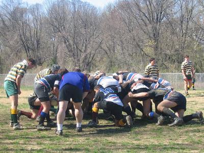rugby, hommes, mêlée