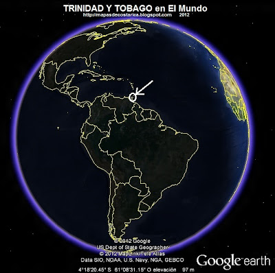 El Mundo. Ubicacin de TRINIDAD Y TOBAGO en El Mundo, Google Earth, vista nocturna