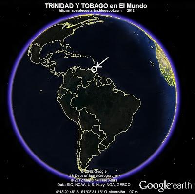 El Mundo. Ubicación de TRINIDAD Y TOBAGO en El Mundo, Google Earth, vista nocturna