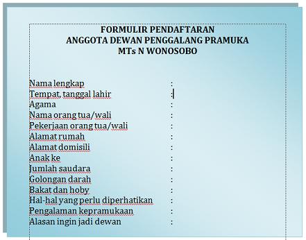 Contoh Formulir Pendaftaran Anggota Dewan Penggalang Pramuka MTs N Wonosobo