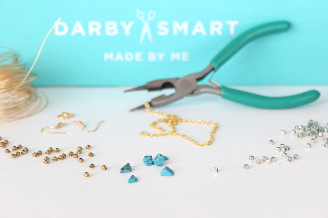 enter the giveaway to win a beaded hoop earrings DIY kit by Darby Smart and designed by Design Thrift