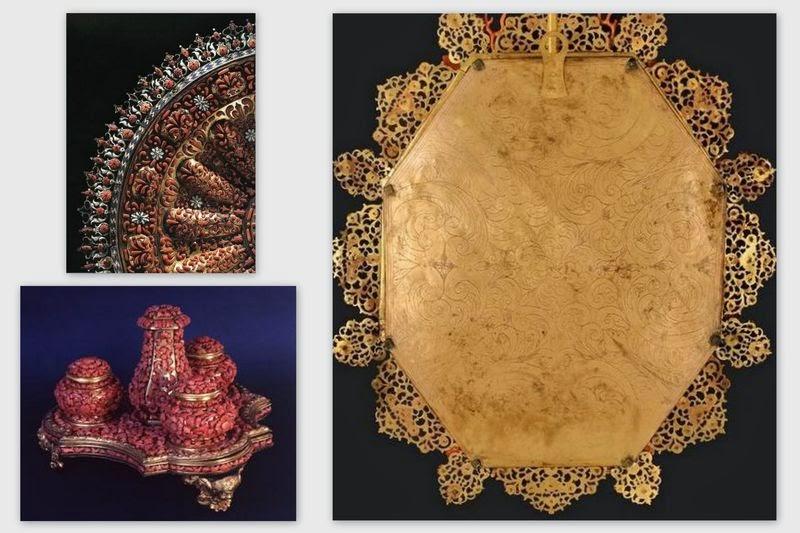 Oggetti smaltati in corallo e specchio inciso - Trapani, Seicento