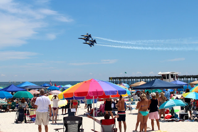 Pensacola Beach is packed with Blue Angels fans!