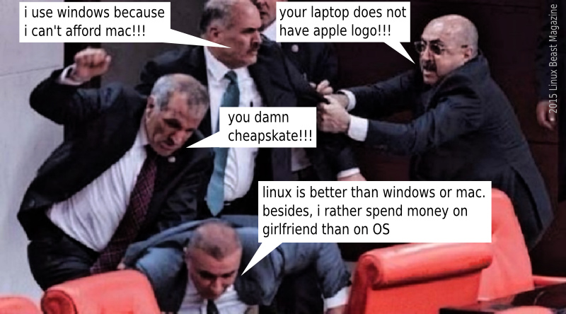 VIOLENT DEBATE - Mac vs Windows vs Linux