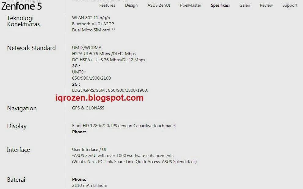 Spesifikasi Smartphone Asus Zenfone 5