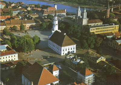 Postcard showing picture of Kaunas, Lithuania