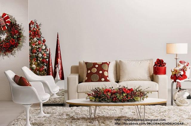 C mo decorar la sala en navidad living christmas natal - Como adornar en navidad ...