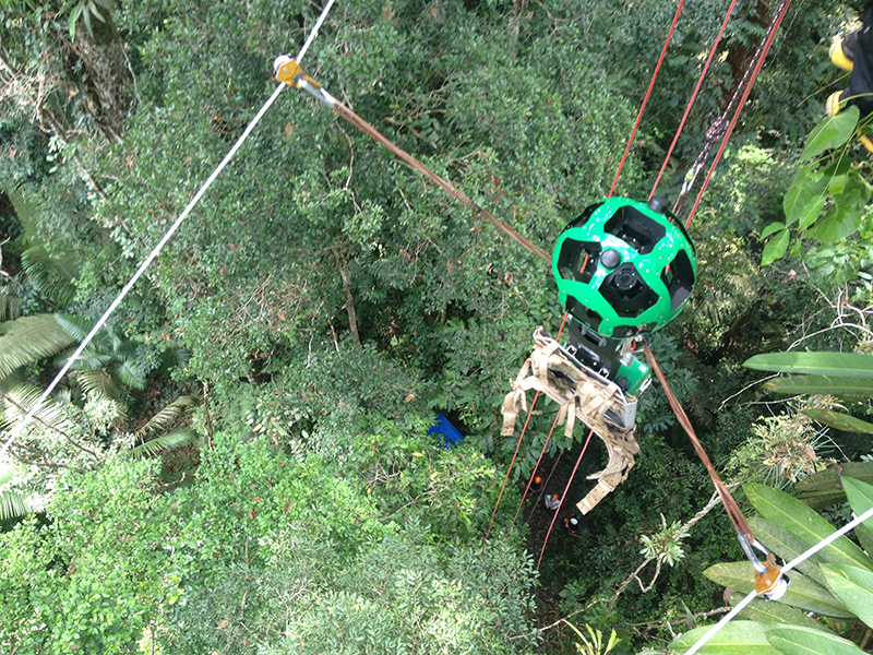 A top-down view of someone zip-lining through the Amazon Jungle canopy.