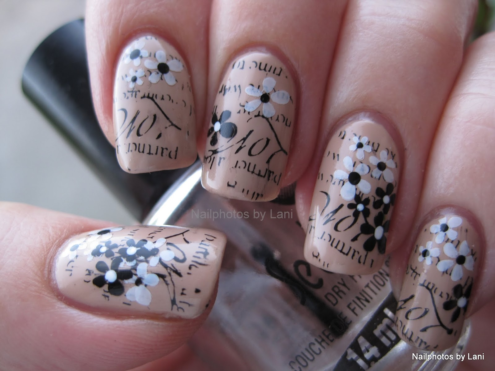 Nailphotos by Lani: Stamped Newspaper Nails with Flowers- AIS ...