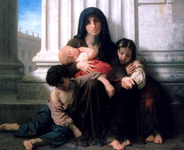 WILLIAM BOUGUEREAU - UNA MADRE CON TRES NIÑOS