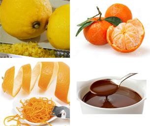 ingredientes de chocolate quente com frutas cítricas