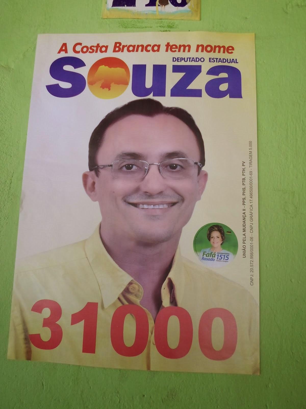A COSTA BRANCA TEM NOME SOUZA  DEPUTADO ESTADUAL  Nº31.000