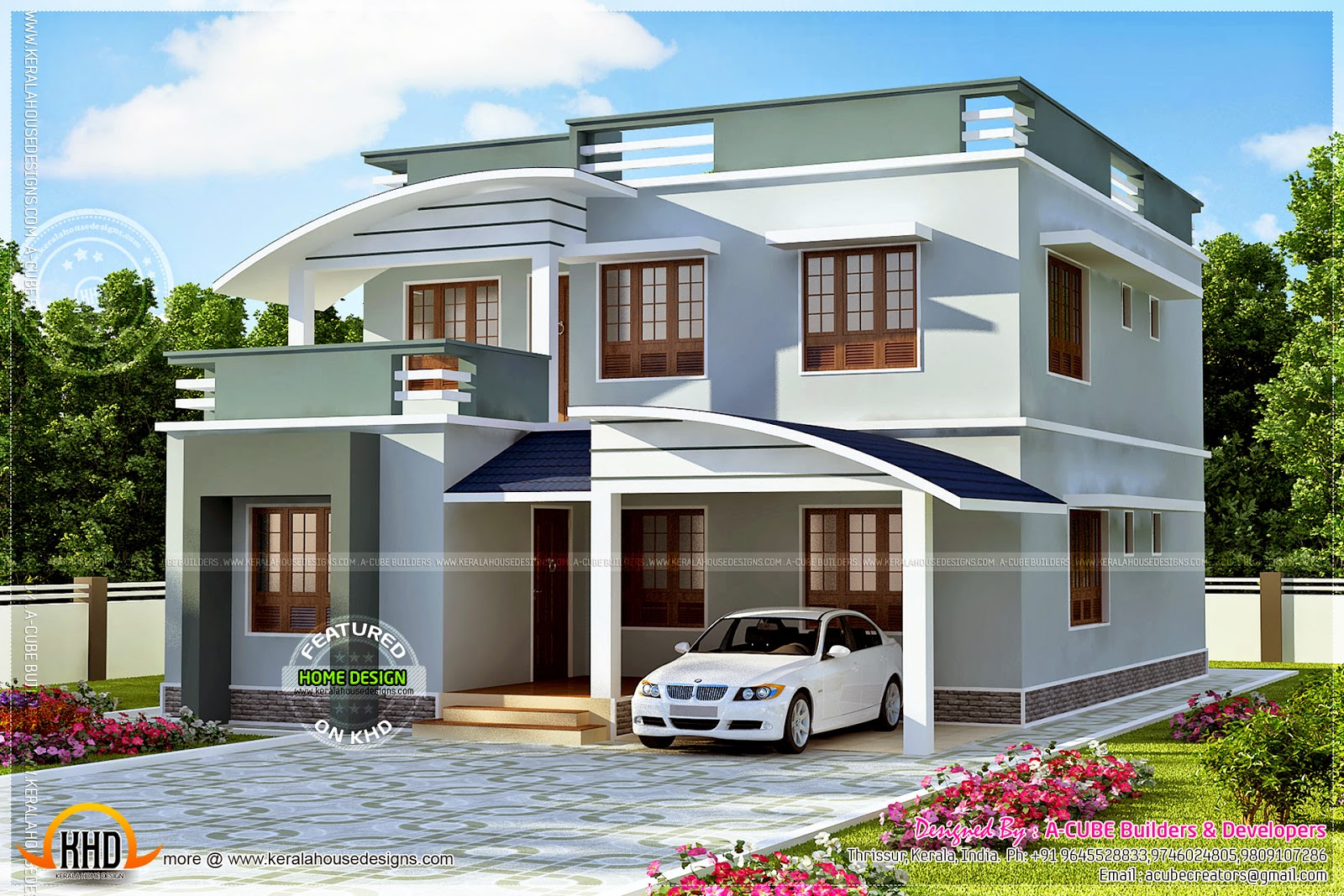 1713 square feet modern villa kerala home design and for Home designs kashmir