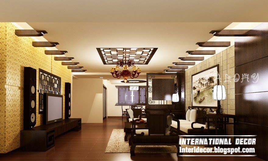 10 unique false ceiling modern designs interior living room for Interior decoration ideas for drawing room