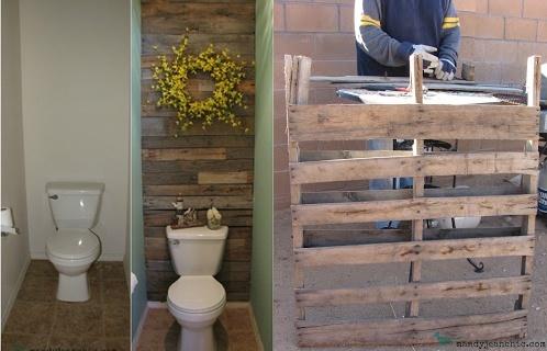parede feita com madeira de pallets para um lavabo