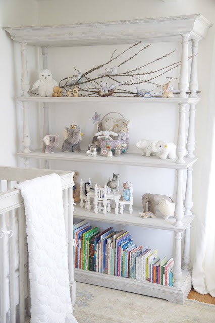 Baby bookcase, toys, stuffed animals, children's books; Nursery in the Nest; Nora's Nest
