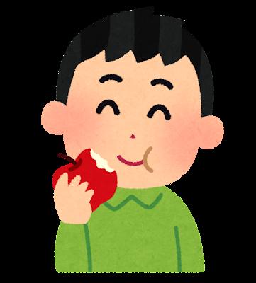 リンゴを食べる男の子のイラスト