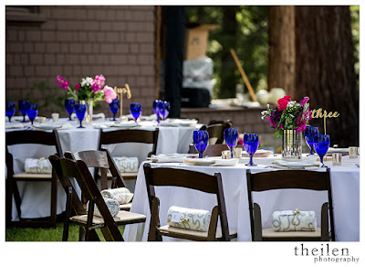 Fuchsia and blue wedding reception at Ehrman Mansion Tahoe l Theilen Photo l Take the Cake Event Planning