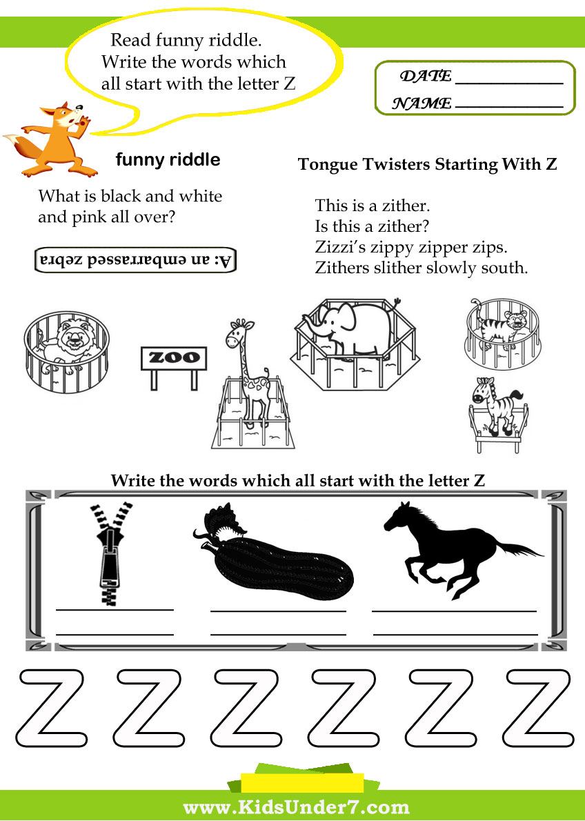 Kids Under 7 Letter Z Worksheets