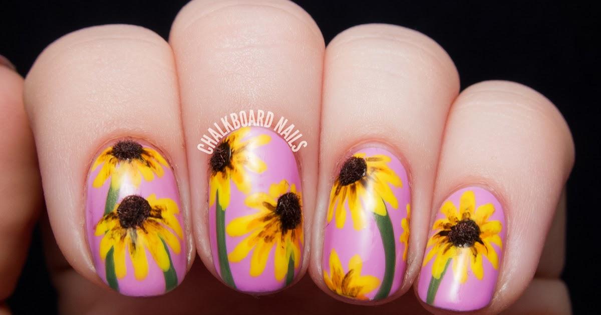 The Lacquer Legion Garden: Black-Eyed Susan 3D Floral Nail Art ...
