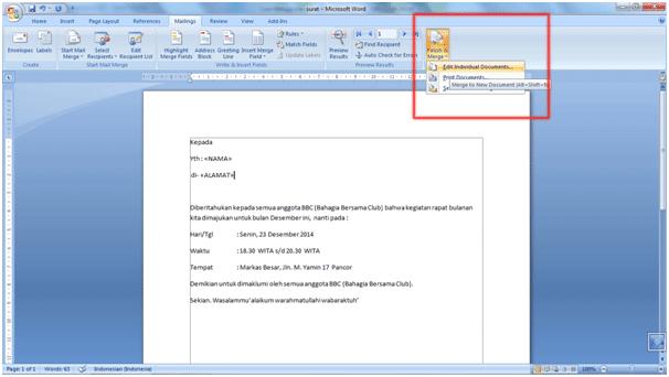 Cara Menggunakan Fitur Mail Merge Di MS. Word 2007 8