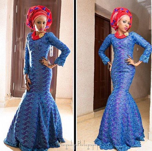 Blue Lace Styles Long Gown - Debonke House Of Fashion