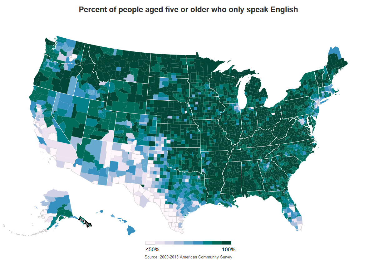 Percent of people aged five or older who only speak English