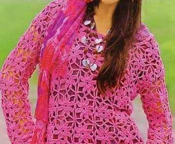 Blusa Flores Rosadas a Crochet