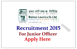 Balmer Lawrie & Co. Limited Recruitment 2015 for the post of Jr.Officer