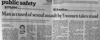 Star Tribune headline about trial: Man accused of sexual assault by 5 women takes stand