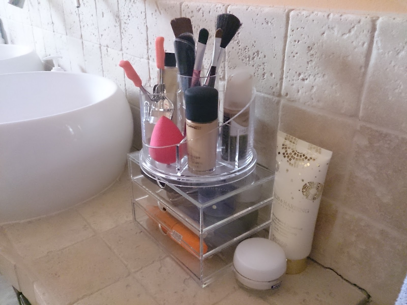 makeup brush clear acrylic storage stand drawers muji