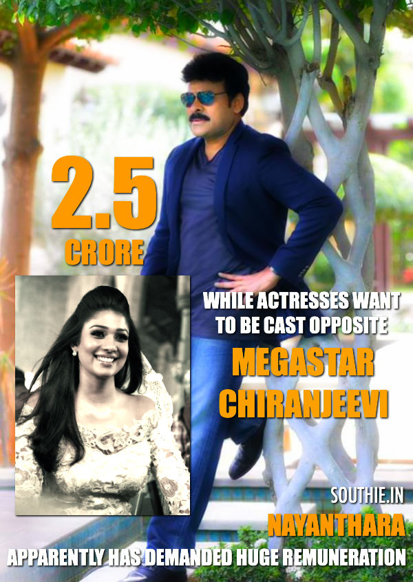 Did Nayantara demand huge remuneration to act with Chiru? South Indian beauty Nayantara has given a shock to Ram Charan by asking a shocking remuneration for acting in Chiranjeevi's Kaththi remake. Nayantara demands huge pay, Nayanthara, Chiru 150th Movie, Megastar Chiranjeevi, Nayanthara, Hot, Chiranjeevi and Nayanthara,