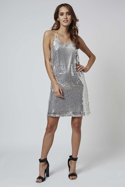 silver sequin cami dress, sequin strappy dress, Jovonna sequin dress, topshop silver sequin dress,