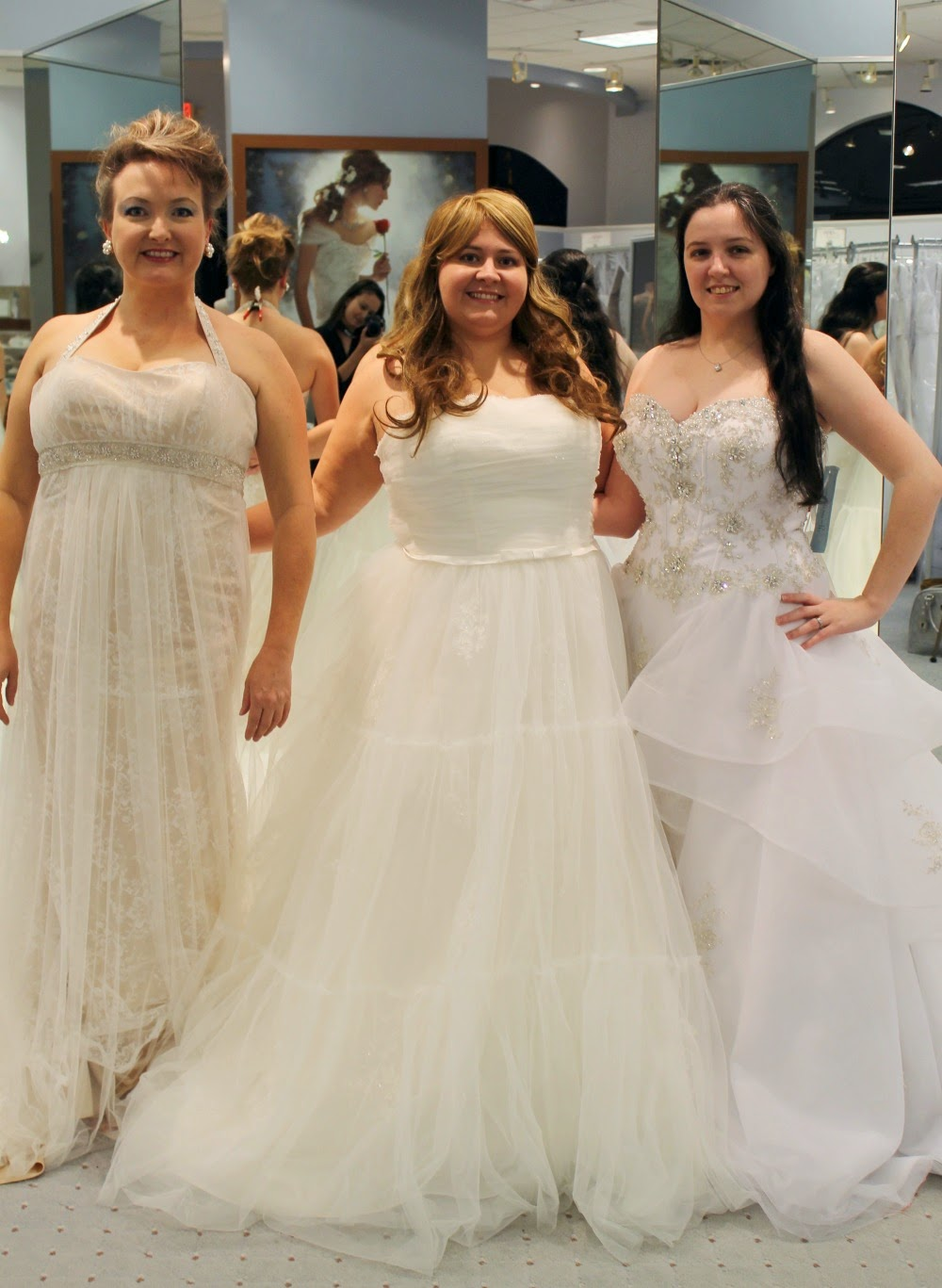 Kelly, Lee, and Tracie in Alfred Angelo wedding gowns.
