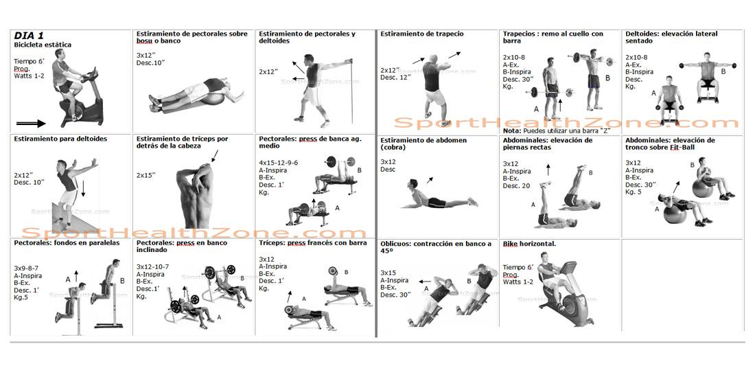 Ejercicios f sicos gimnasio en casa - Plan de entrenamiento en casa ...