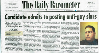 OSU student newspaper headline about Bret Barlow's anti-gay posts, Barometer 4/14/2014, p. 1