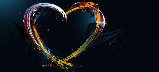 Coloured Heart Facebook Cover