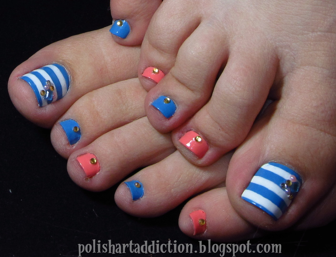 Toe nail designs and colors toe nail colors art styling view images polish art addict coral blue toes prinsesfo Image collections