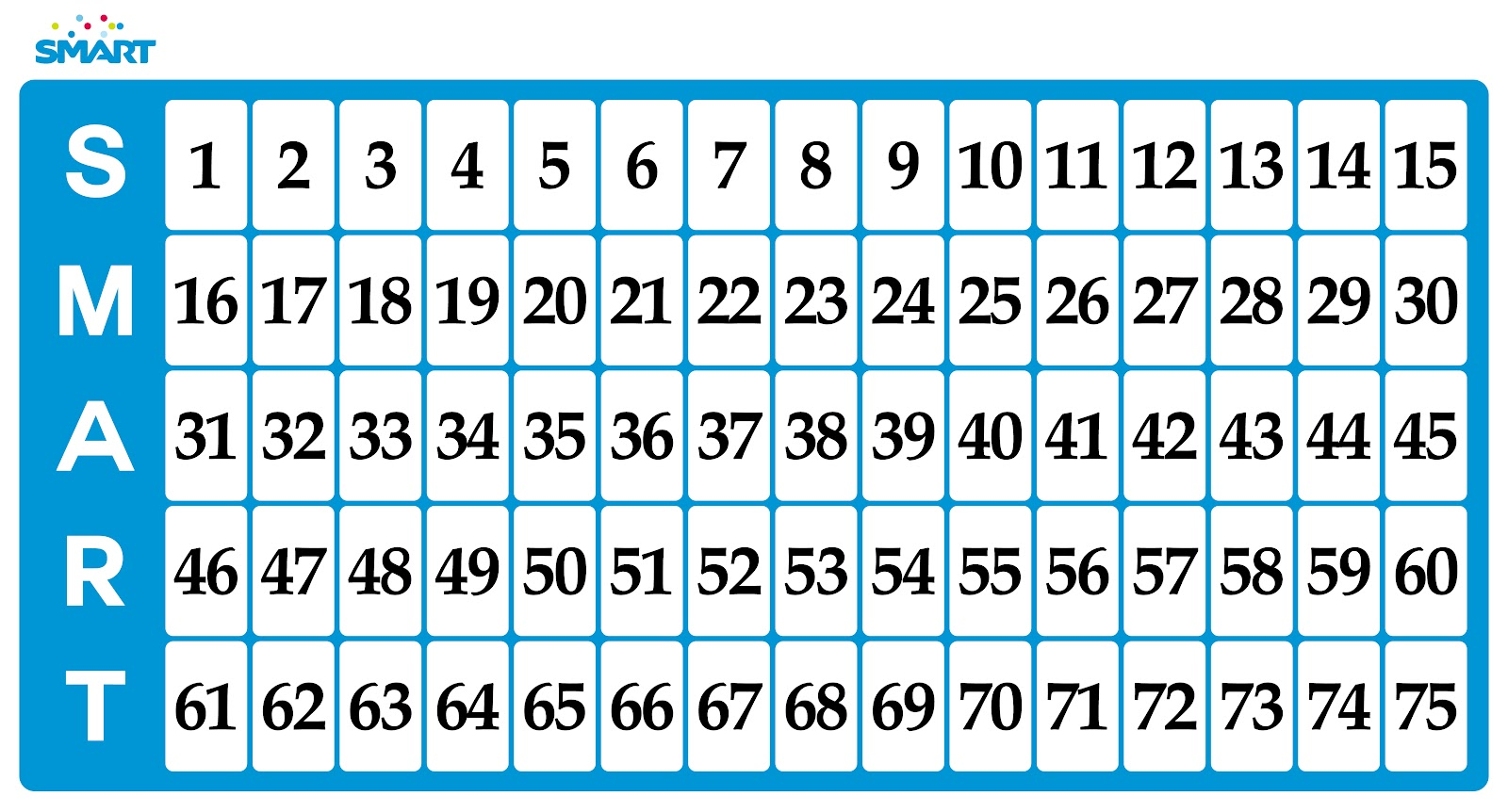 Simplicity image in printable bingo numbers 1-75