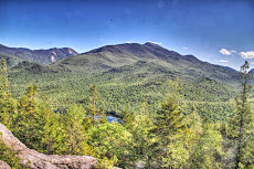 Glacial Heart Lake in the Adirondacks of New York State with the High Peaks in the background