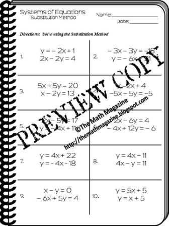 The Math Magazine: Solving Systems of Equations Substitution Method ...