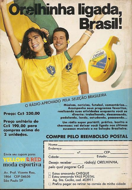 Propaganda do Rádio Orelhinha apresentado em 1986 - ano da Copa do Mundo no México.
