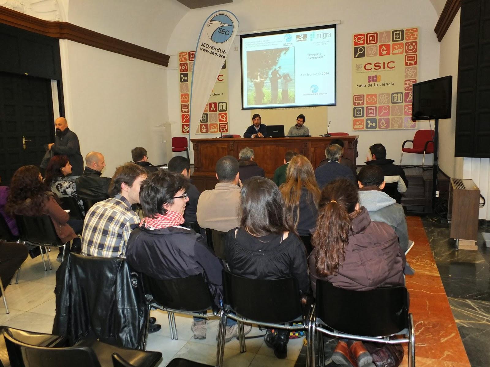 """Conferencia """"Seguimiento de la Migración Prenupcial de Aves Planeadoras en Sierra Morena"""". Por Iván Parrillo  en el ciclo Martes Ornitológicos, 4 de febrero de 2014, que el Grupo Local SEO-Sevilla de SEO/BirdLife organiza en el Museo Casa de la Ciencia de Sevilla"""