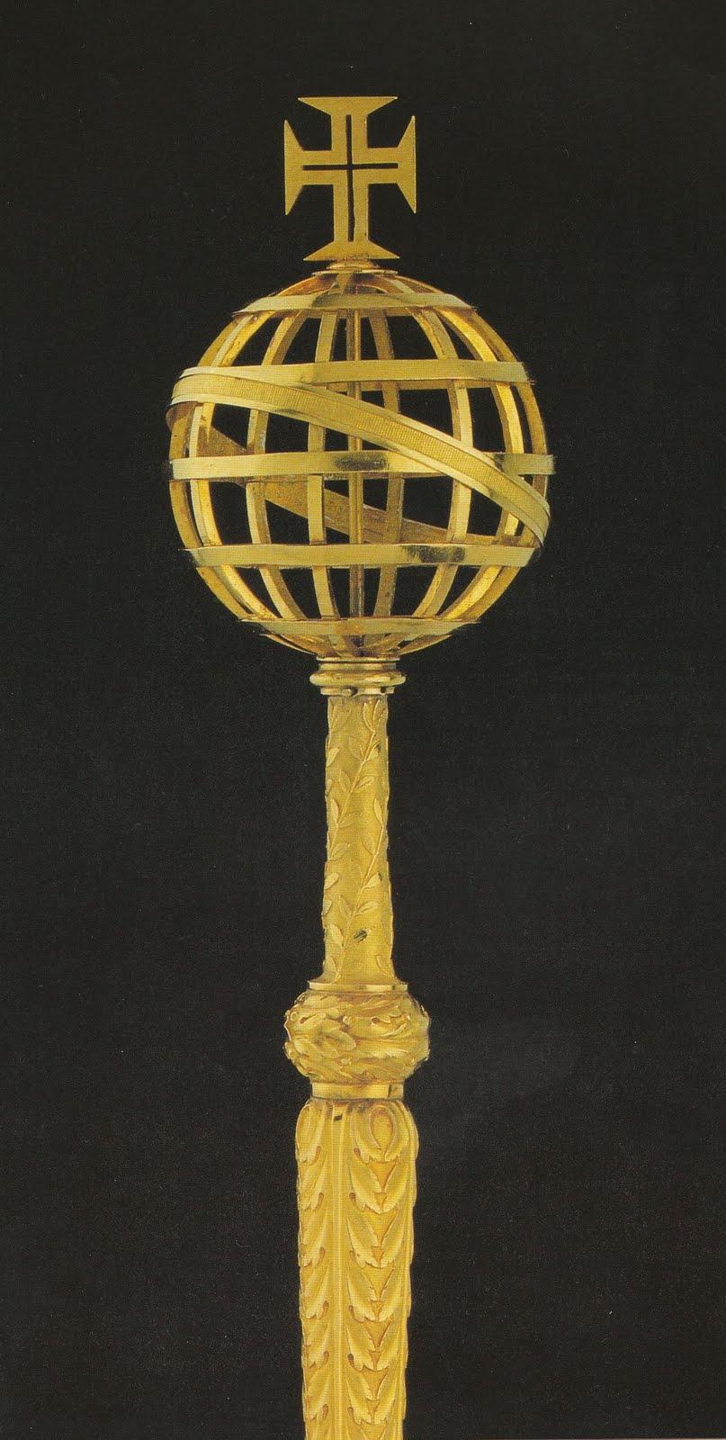 Resultado de imagem para Ceptro de ouro. Feito no Brasil em 1817. Como acompanhamento da coroa real.