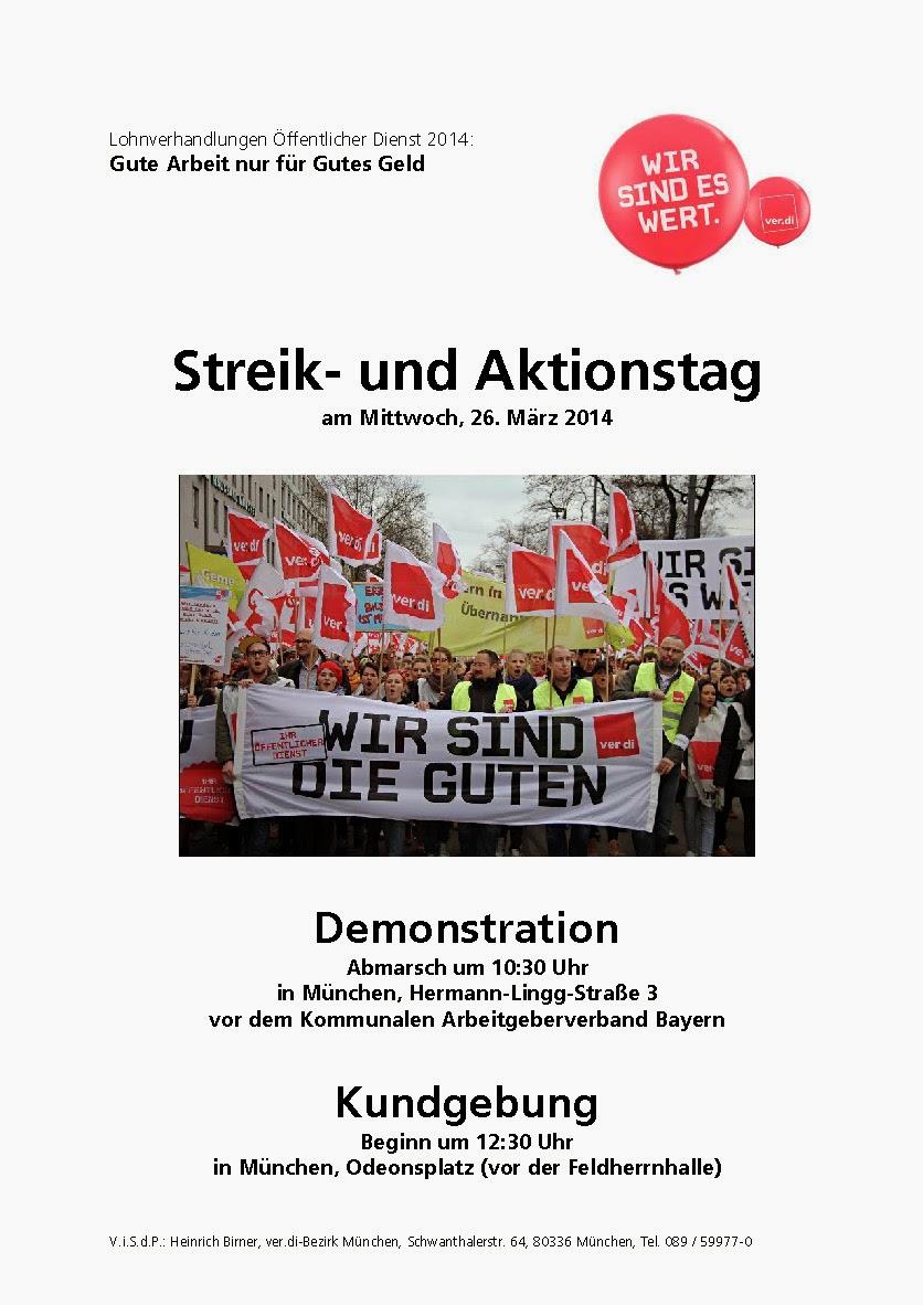 Tröd streik und aktionstag 26 märz 2014