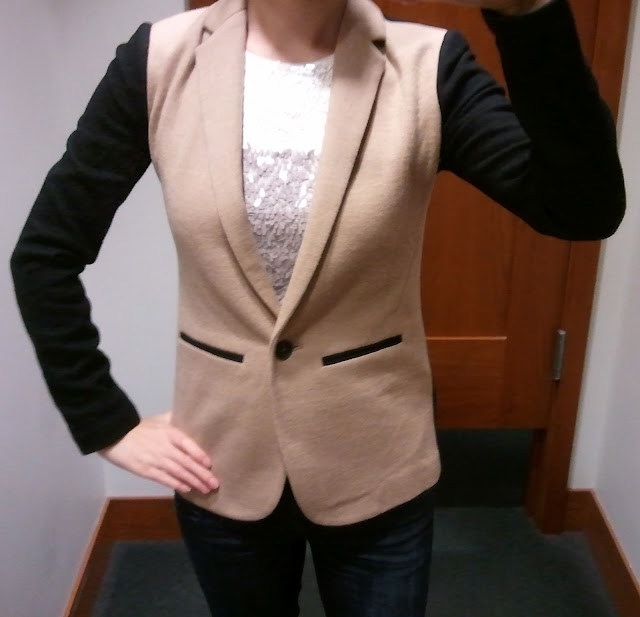 J. Crew Contrast Knit Blazer and Collection Sequin Colorblock Tank